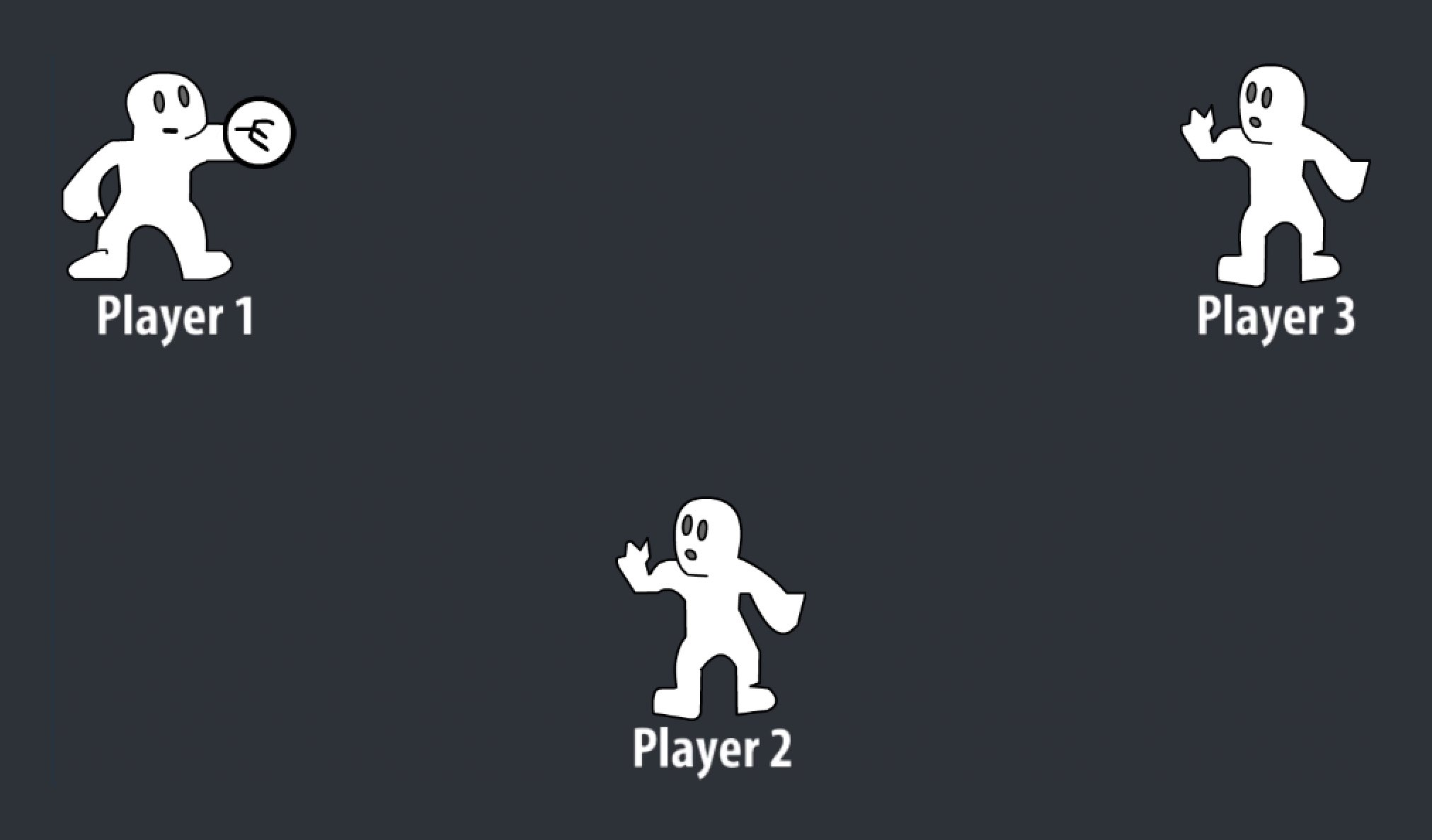 From the cyberball game, three outlined figures playing catch. Player 1 is mid-throw to Player 3.
