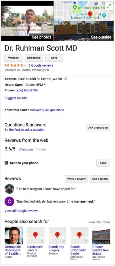 Google search results info box for Dr. Ruhlman, showing an photo; a map; ratings; an address; reviews; buttons to ask a question, leave a review, and add a photo; and other people searched for.