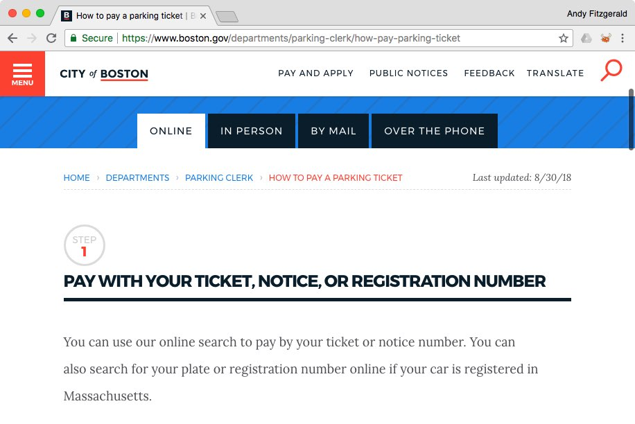 "The City of Boston website's ""How to Pay a Parking Ticket"" page, showing a tabbed view of ways to pay and instructions for the first of those ways, paying online."
