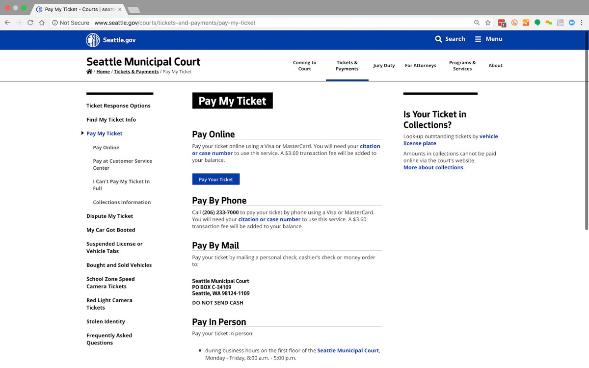 "The City of Seattle website's ""Pay My Ticket"" page, showing four methods to pay a parking ticket in a simple, all-text layout."