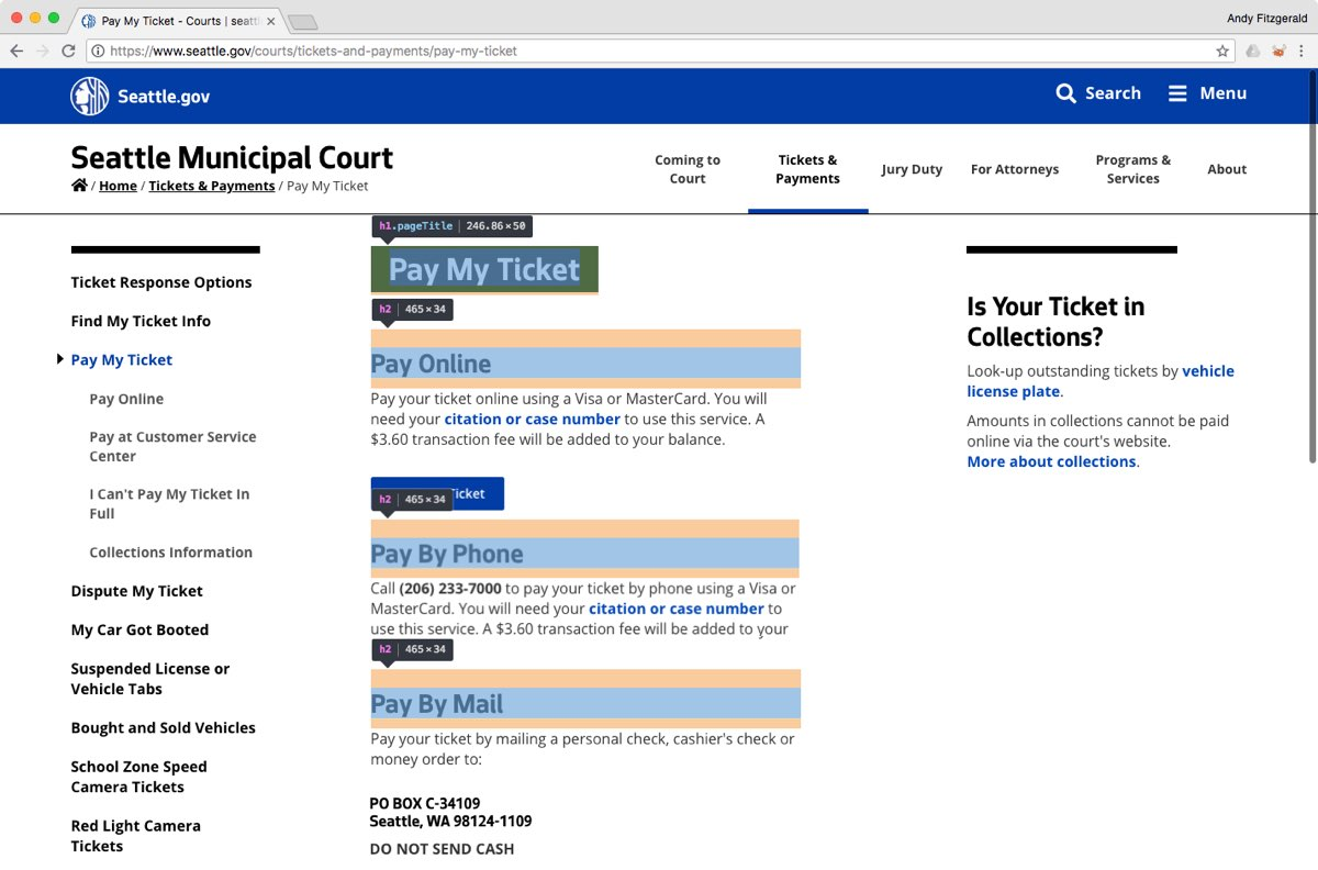 "The City of Seattle website's ""Pay My Ticket"" page, with the HTML heading elements outlined and labeled for illustration."