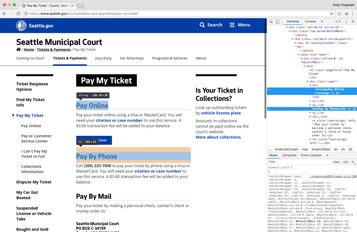 The City of Seattle website's 'Pay My Ticket' page, with two HTML heading elements outlined and labeled for illustration, and an open inspector panel, where we can see that the headings look the same to viewers but are marked up differently in the code.