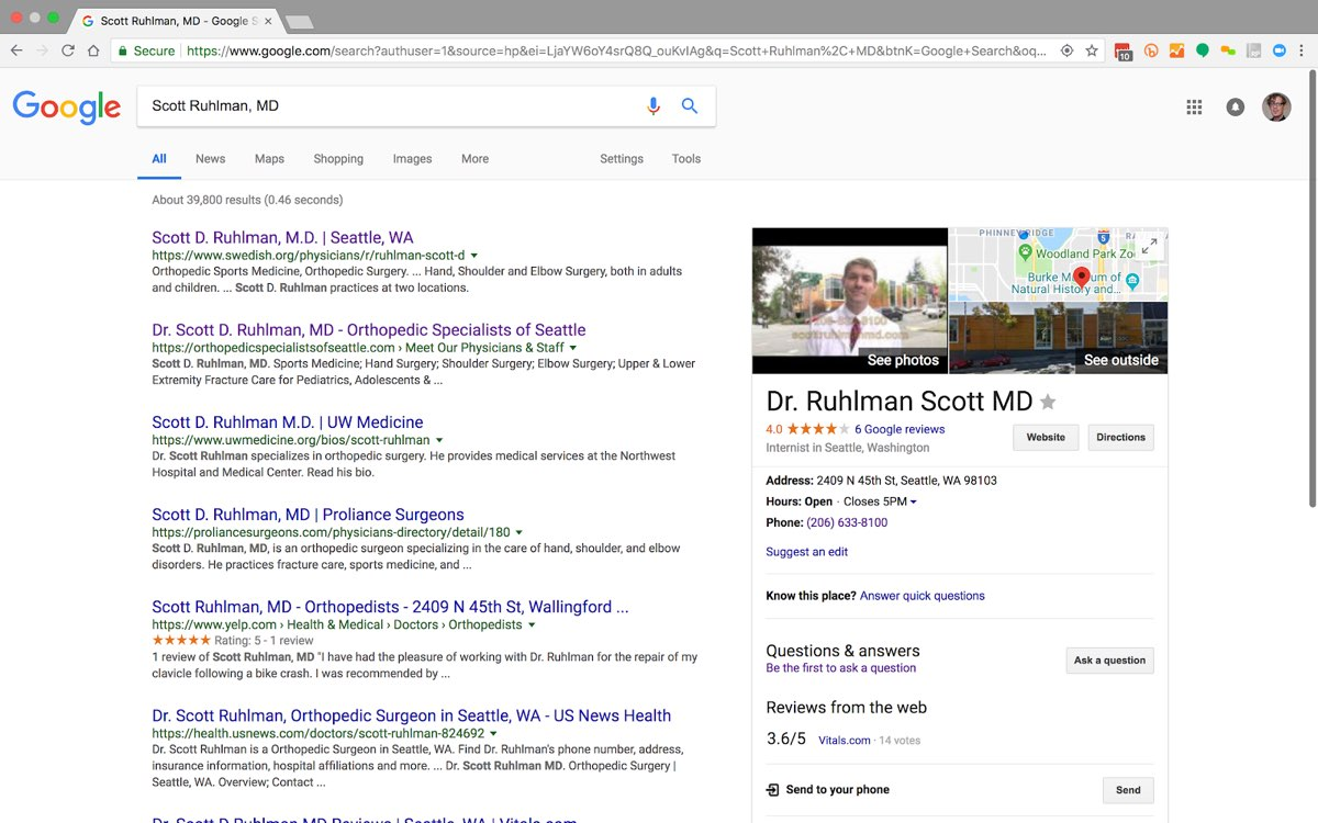 Google search results page for Scott Ruhlman, MD, showing a list of standard links and an info box with an image, a map, ratings, an address, and reviews information.
